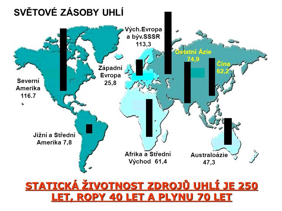 Severní Amerika 116.7 Vých.Evropa a býv.SSSR 113,3 Západní Evropa 25,8 Jižní a Střední Amerika 7,8 Afrika a Střední Východ 61,4 Australoázie 47,3 Ostatní Ázie 74,9 Čína 62,2 SVĚTOVÉ ZÁSOBY UHLÍ STATICKÁ ŽIVOTNOST ZDROJŮ UHLÍ JE 250 LET, ROPY 40 LET A PLYNU 70 LET