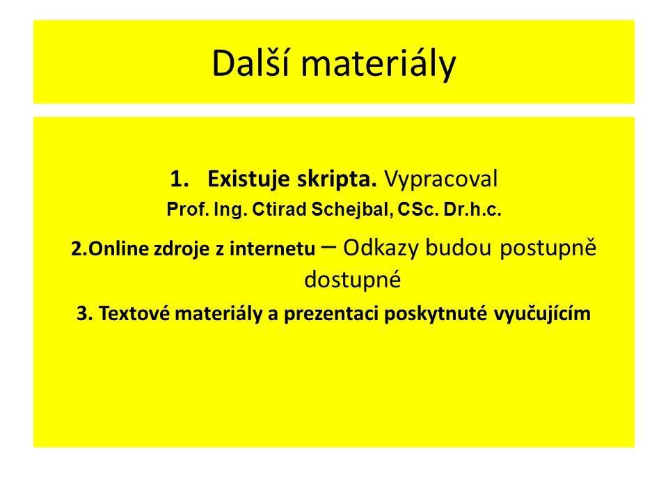Další materiály 1.Existuje skripta. Vypracoval Prof. Ing. Ctirad Schejbal, CSc. Dr.h.c. 2.Online zdroje z internetu – Odkazy budou postupně dostupné 3