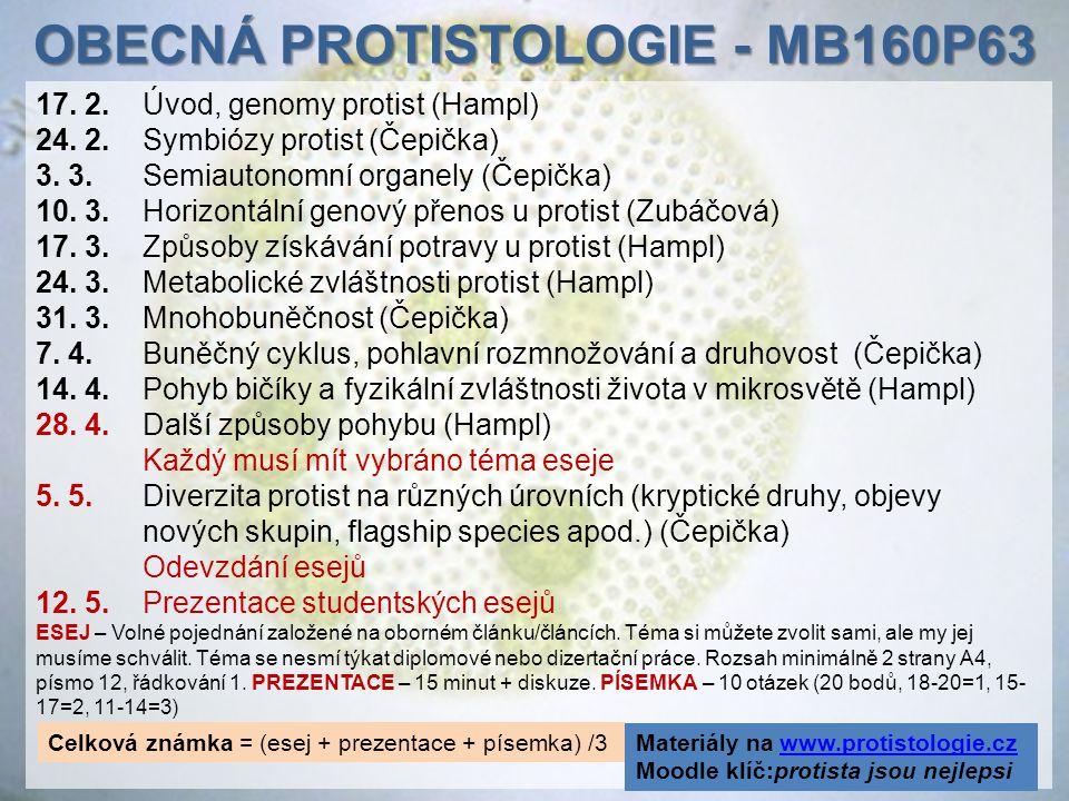 17. 2.Úvod, genomy protist (Hampl) 24. 2. Symbiózy protist (Čepička) 3. 3. Semiautonomní organely (Čepička) 10. 3. Horizontální genový přenos u protis