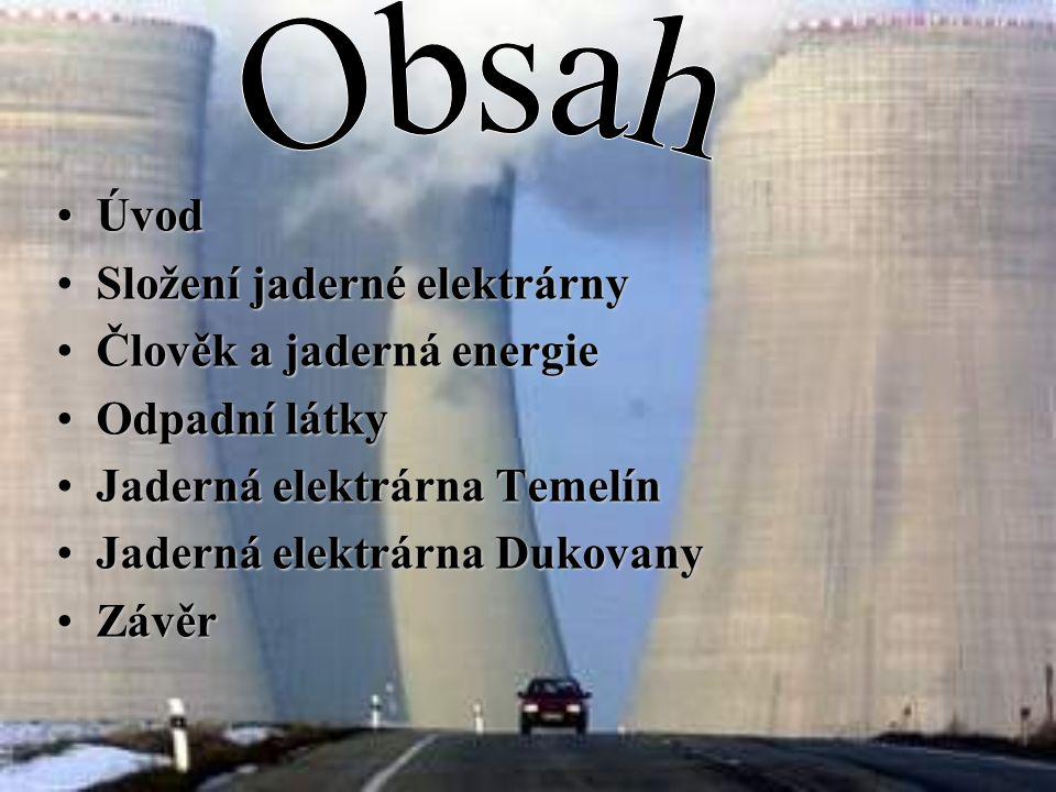 Úvod Složení jaderné elektrárny Člověk a jaderná energie Odpadní látky Jaderná elektrárna Temelín Jaderná elektrárna Dukovany Závěr