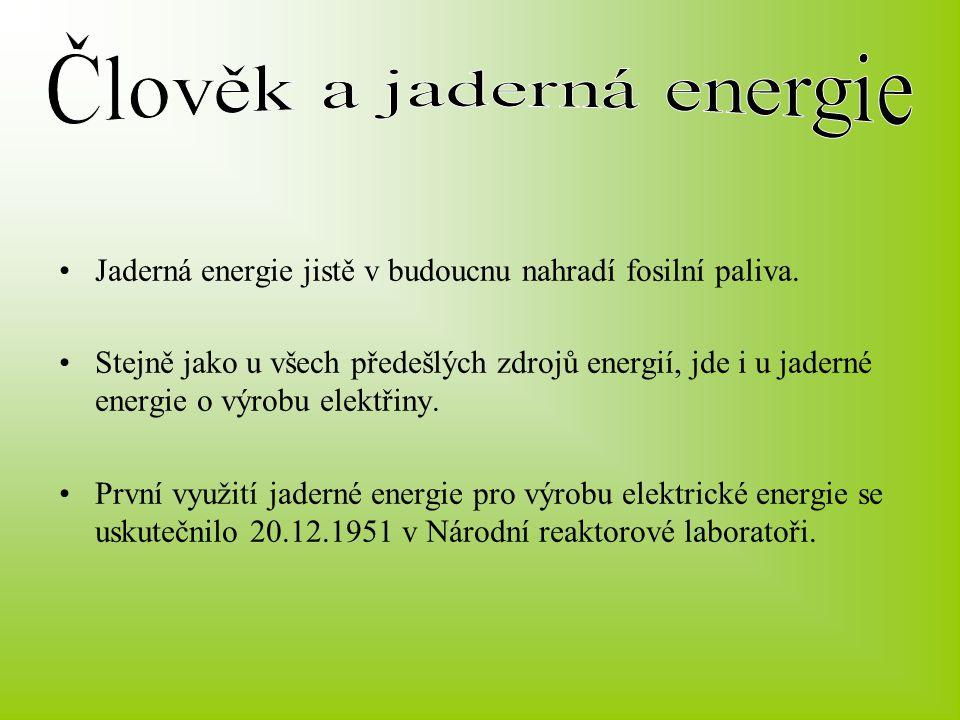 Jaderná energie jistě v budoucnu nahradí fosilní paliva. Stejně jako u všech předešlých zdrojů energií, jde i u jaderné energie o výrobu elektřiny. Pr