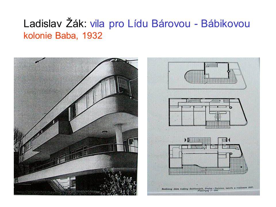 Ladislav Žák: vila pro Lídu Bárovou - Bábikovou kolonie Baba, 1932