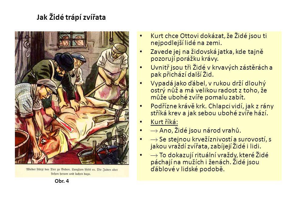 Jak lze Židy rozeznat.V 7. třídě učitel vypravuje o Židech a na tabuli maluje jejich obrázky.