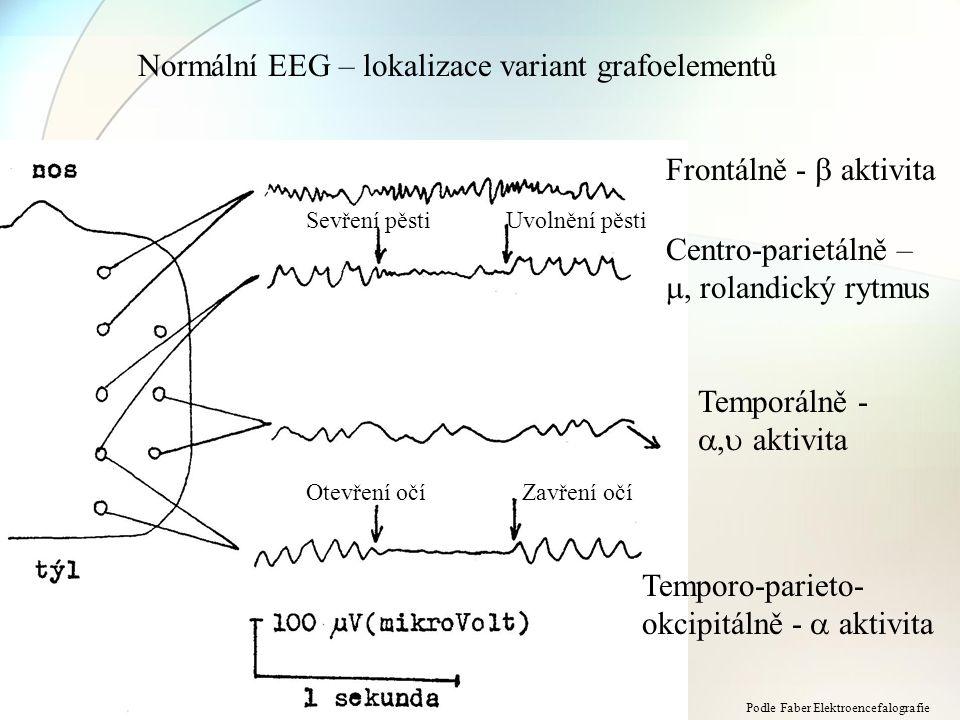 Normální EEG – lokalizace variant grafoelementů Frontálně -  aktivita Centro-parietálně – , rolandický rytmus Temporálně - ,  aktivita Temporo-par