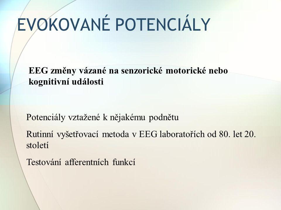 EVOKOVANÉ POTENCIÁLY Potenciály vztažené k nějakému podnětu Rutinní vyšetřovací metoda v EEG laboratořích od 80. let 20. století Testování afferentníc