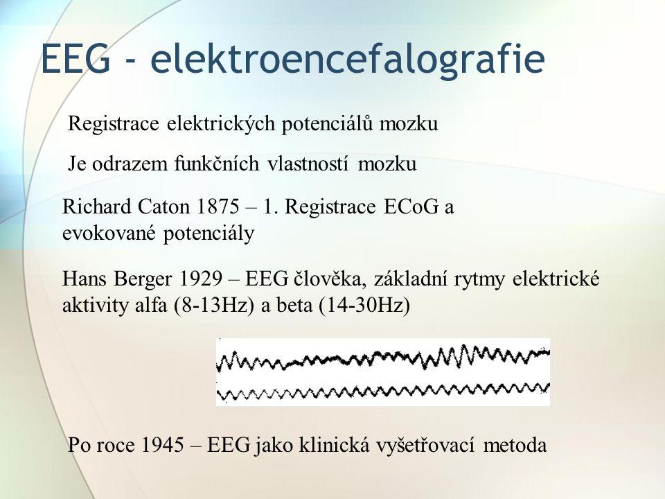 EEG - elektroencefalografie Richard Caton 1875 – 1. Registrace ECoG a evokované potenciály Registrace elektrických potenciálů mozku Je odrazem funkční