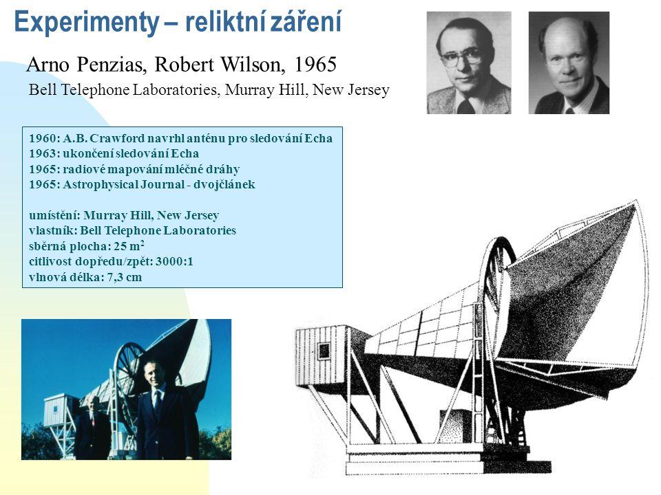 Arno Penzias, Robert Wilson, 1965 Bell Telephone Laboratories, Murray Hill, New Jersey Experimenty – reliktní záření 1960: A.B. Crawford navrhl anténu