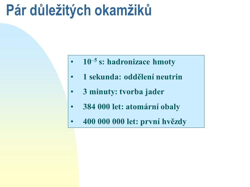 10 –5 s: hadronizace hmoty 1 sekunda: oddělení neutrin 3 minuty: tvorba jader 384 000 let: atomární obaly 400 000 000 let: první hvězdy Pár důležitých