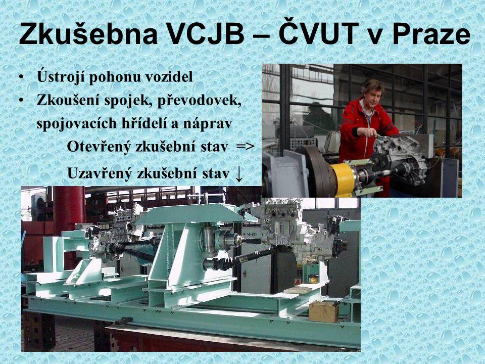 Zkušebna VCJB – ČVUT v Praze Simulace a experiment Počítačová simulace kolize chodce s automobilem Zkušební zařízení vrhající model hlavy chodce proti vozu
