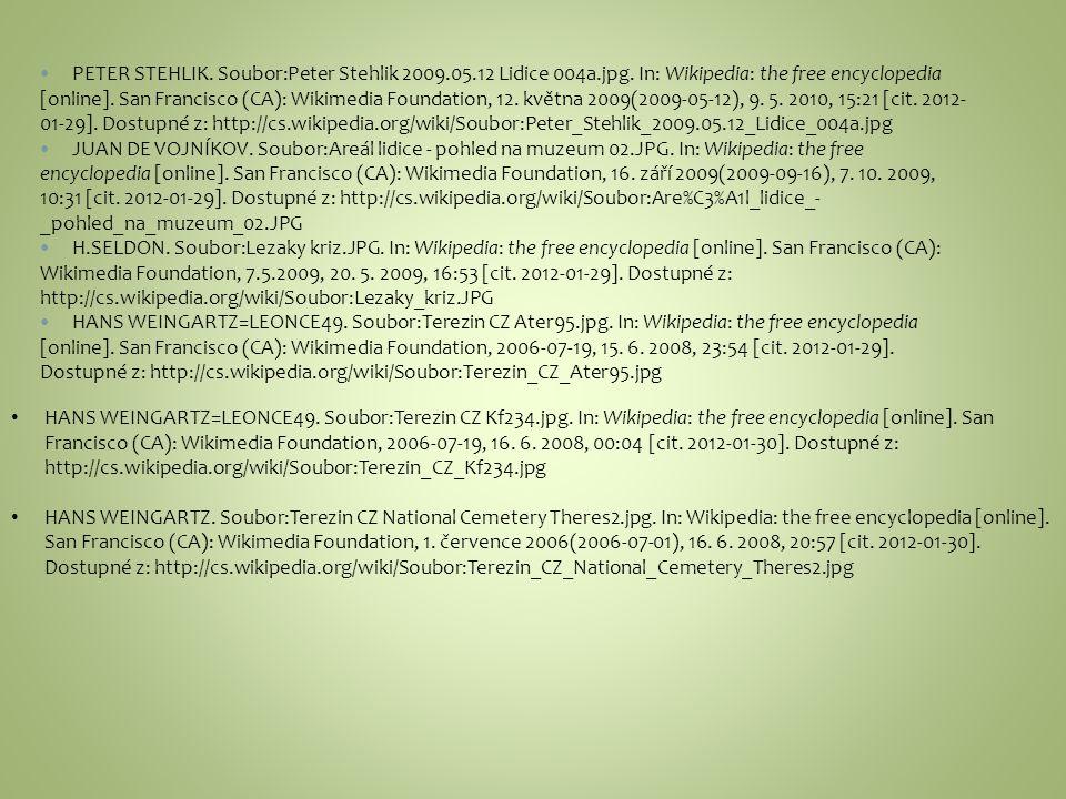 PETER STEHLIK. Soubor:Peter Stehlik 2009.05.12 Lidice 004a.jpg. In: Wikipedia: the free encyclopedia [online]. San Francisco (CA): Wikimedia Foundatio