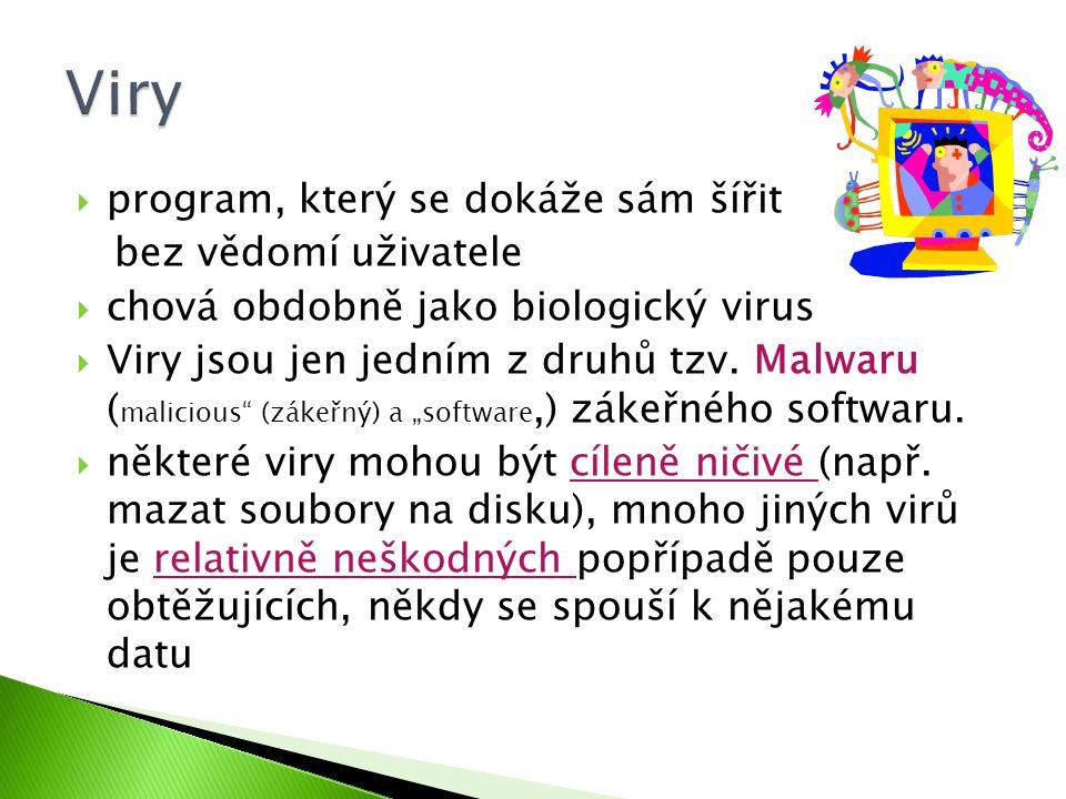  program, který se dokáže sám šířit bez vědomí uživatele  chová obdobně jako biologický virus  Viry jsou jen jedním z druhů tzv.