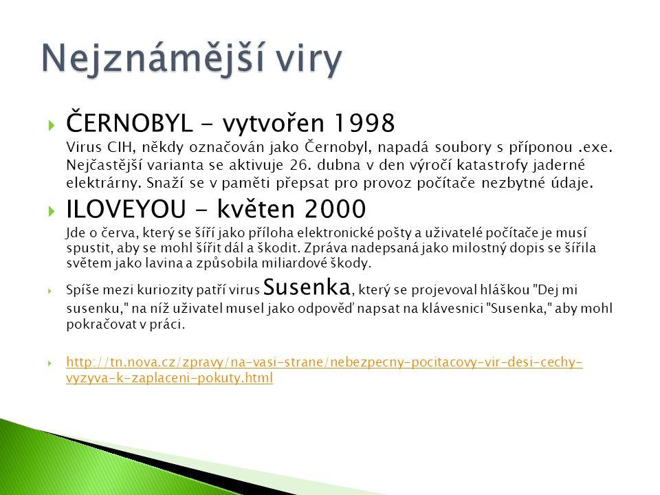  ČERNOBYL - vytvořen 1998 Virus CIH, někdy označován jako Černobyl, napadá soubory s příponou.exe.