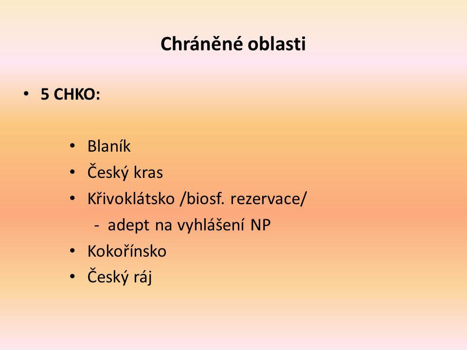 Chráněné oblasti 5 CHKO: Blaník Český kras Křivoklátsko /biosf. rezervace/ - adept na vyhlášení NP Kokořínsko Český ráj