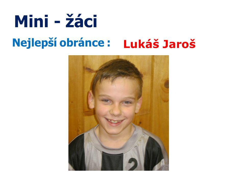 Mini - žáci Nejlepší obránce : Lukáš Jaroš