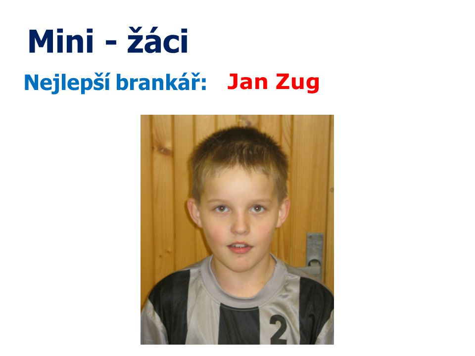 Mini - žáci Nejlepší brankář: Jan Zug