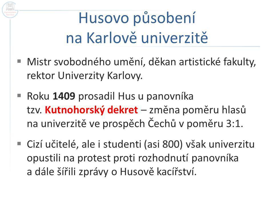 Husovo působení na Karlově univerzitě  Mistr svobodného umění, děkan artistické fakulty, rektor Univerzity Karlovy.