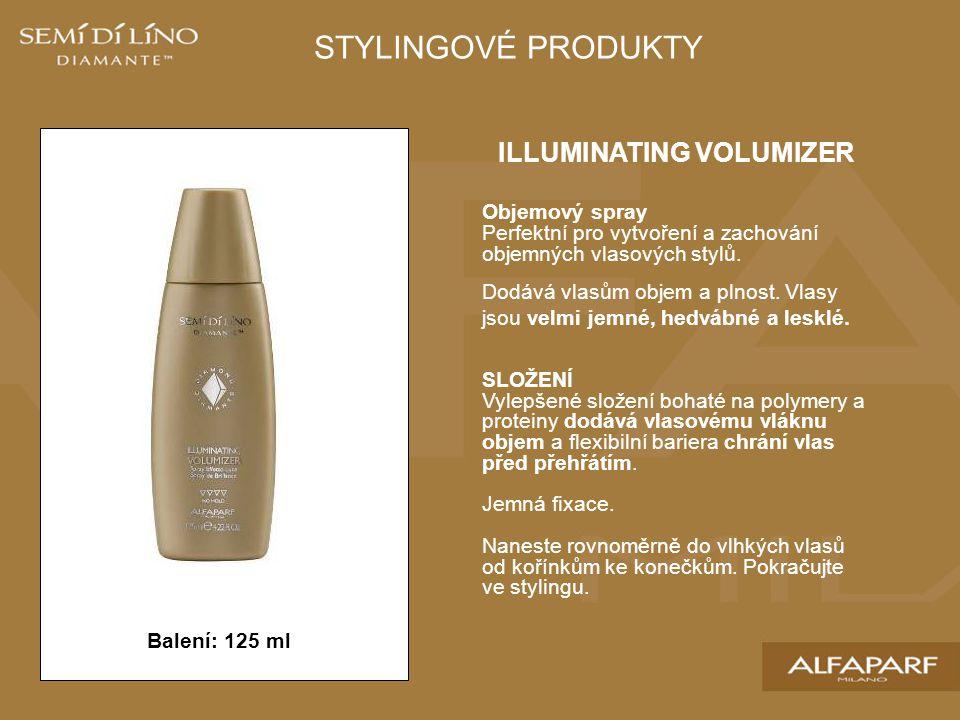 Balení: 125 ml STYLINGOVÉ PRODUKTY ILLUMINATING VOLUMIZER Objemový spray Perfektní pro vytvoření a zachování objemných vlasových stylů. Dodává vlasům