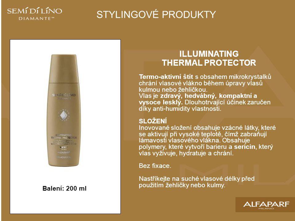 ILLUMINATING THERMAL PROTECTOR Termo-aktivní štít s obsahem mikrokrystalků chrání vlasové vlákno během úpravy vlasů kulmou nebo žehličkou. Vlas je zdr