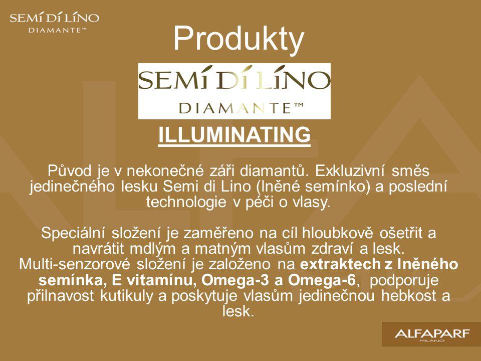 Produkty ILLUMINATING Původ je v nekonečné záři diamantů. Exkluzivní směs jedinečného lesku Semi di Lino (lněné semínko) a poslední technologie v péči