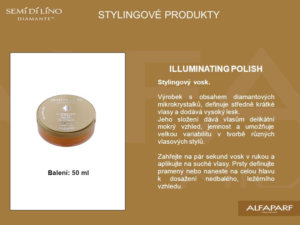 ILLUMINATING POLISH Stylingový vosk. Výrobek s obsahem diamantových mikrokrystalků, definuje středně krátké vlasy a dodává vysoký lesk. Jeho složení d