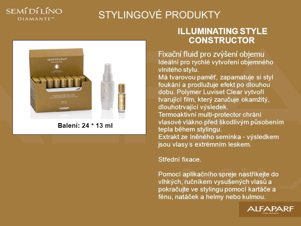 ILLUMINATING STYLE CONSTRUCTOR Fixační fluid pro zvýšení objemu Ideální pro rychlé vytvoření objemného vlnitého stylu.
