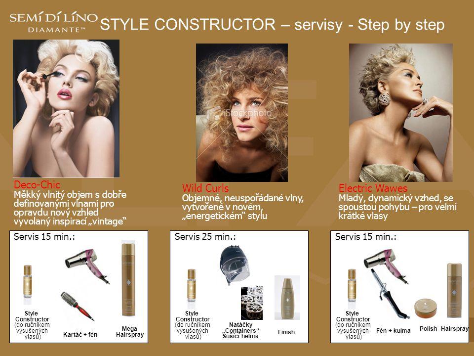 STYLE CONSTRUCTOR – servisy - Step by step Electric Wawes Mladý, dynamický vzhed, se spoustou pohybu – pro velmi krátké vlasy Deco-Chic Měkký vlnitý o