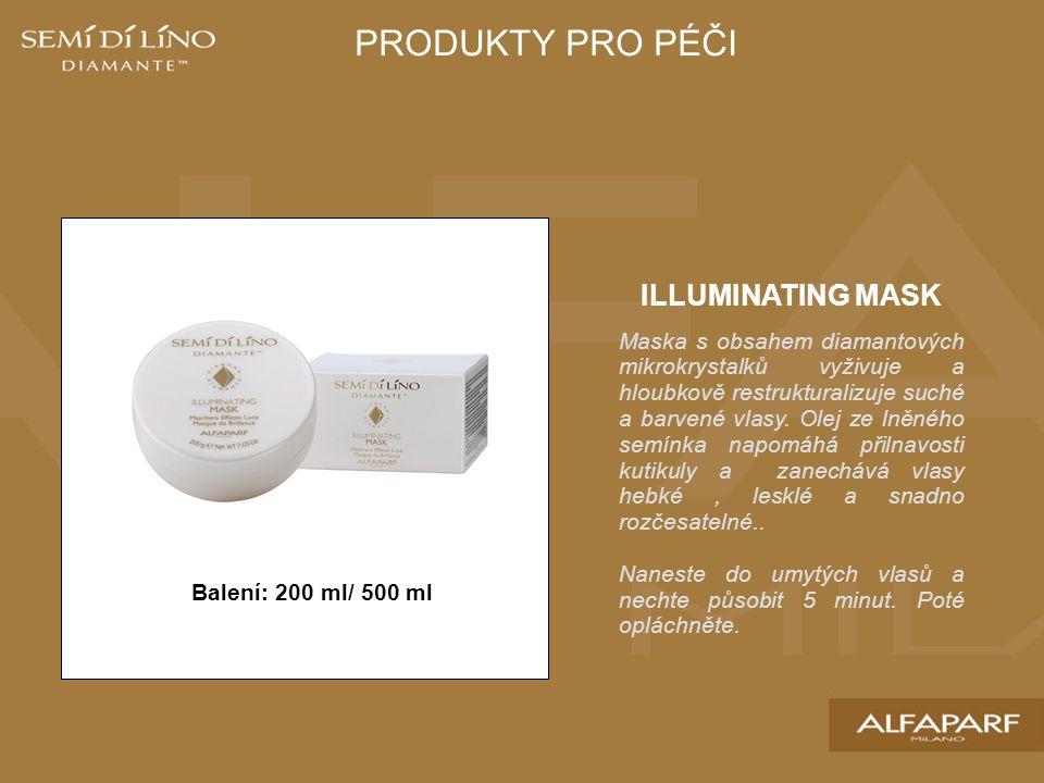 Balení: 200 ml/ 500 ml ILLUMINATING MASK Maska s obsahem diamantových mikrokrystalků vyživuje a hloubkově restrukturalizuje suché a barvené vlasy.