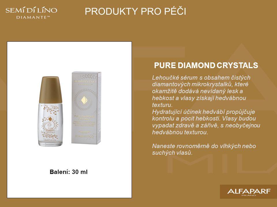 PURE DIAMOND CRYSTALS Lehoučké sérum s obsahem čistých diamantových mikrokrystalků, které okamžitě dodává nevídaný lesk a hebkost a vlasy získají hedvábnou texturu.