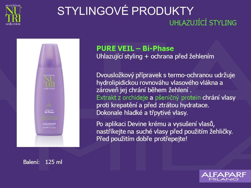 STYLINGOVÉ PRODUKTY UHLAZUJÍCÍ STYLING PURE VEIL – Bi-Phase Uhlazující styling + ochrana před žehlením Dvousložkový přípravek s termo-ochranou udržuje hydrolipidickou rovnováhu vlasového vlákna a zároveň jej chrání během žehlení.