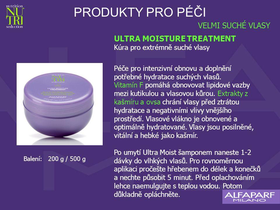 PRODUKTY PRO PÉČI ULTRA MOISTURE TREATMENT Kúra pro extrémně suché vlasy Péče pro intenzivní obnovu a doplnění potřebné hydratace suchých vlasů.