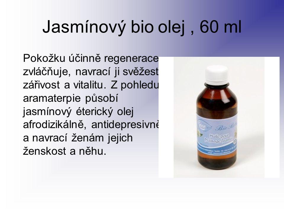 Jasmínový bio olej, 60 ml Pokožku účinně regenerace, zvláčňuje, navrací ji svěžest, zářivost a vitalitu. Z pohledu aramaterpie působí jasmínový éteric