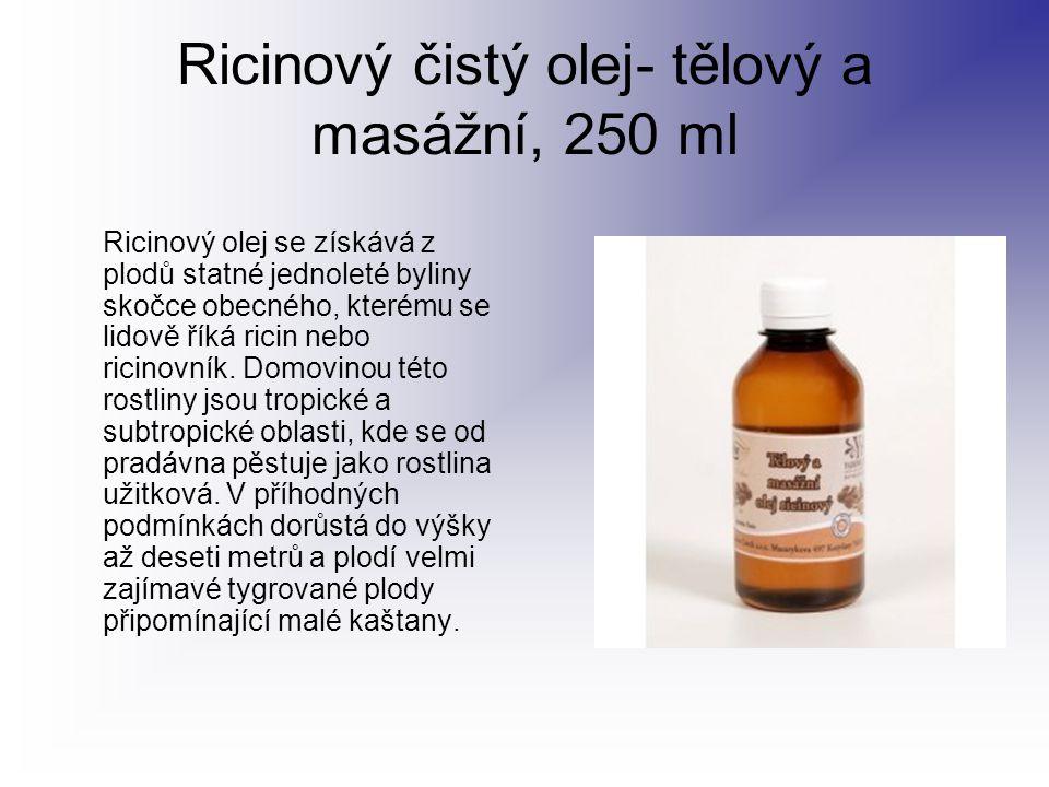 Ricinový čistý olej- tělový a masážní, 250 ml Ricinový olej se získává z plodů statné jednoleté byliny skočce obecného, kterému se lidově říká ricin n