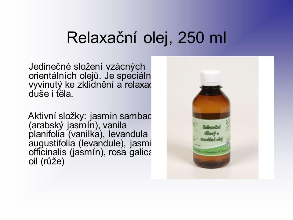 Relaxační olej, 250 ml Jedinečné složení vzácných orientálních olejů. Je speciálně vyvinutý ke zklidnění a relaxaci duše i těla. Aktivní složky: jasmi