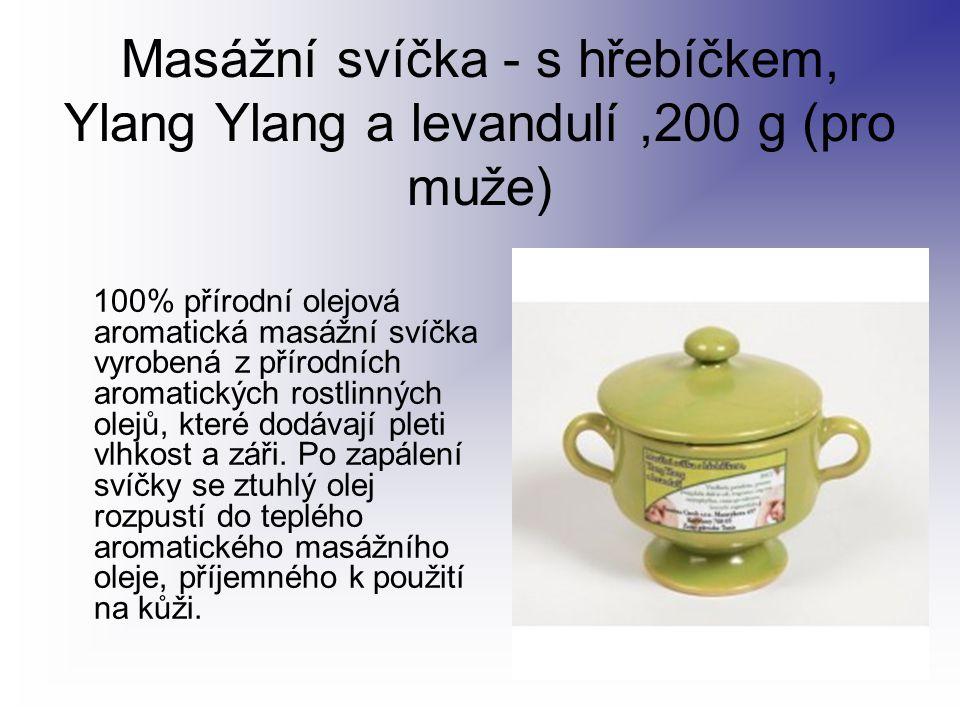 Masážní svíčka - s hřebíčkem, Ylang Ylang a levandulí,200 g (pro muže) 100% přírodní olejová aromatická masážní svíčka vyrobená z přírodních aromatick