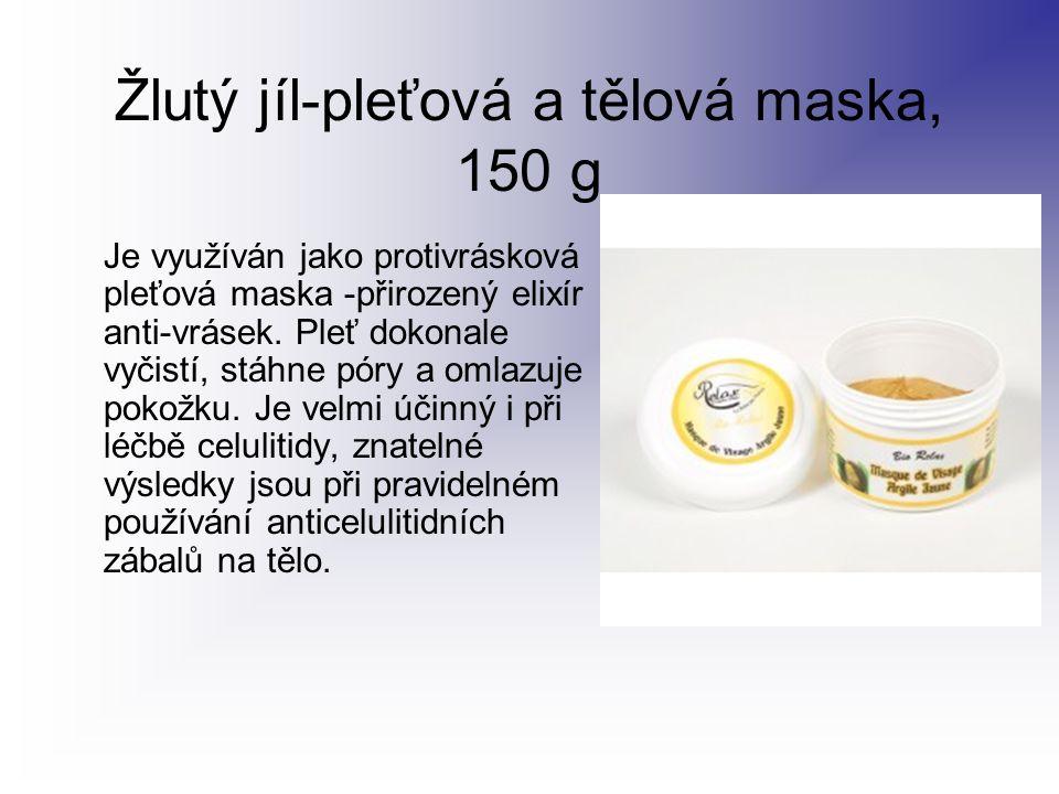 Žlutý jíl-pleťová a tělová maska, 150 g Je využíván jako protivrásková pleťová maska -přirozený elixír anti-vrásek. Pleť dokonale vyčistí, stáhne póry