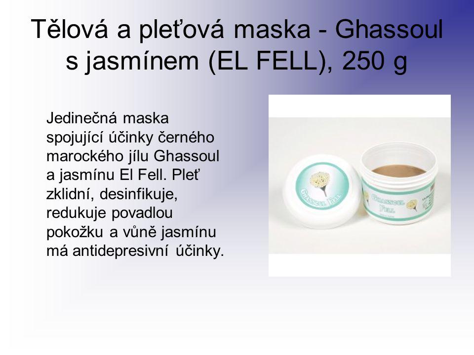 Tělová a pleťová maska - Ghassoul s jasmínem (EL FELL), 250 g Jedinečná maska spojující účinky černého marockého jílu Ghassoul a jasmínu El Fell. Pleť