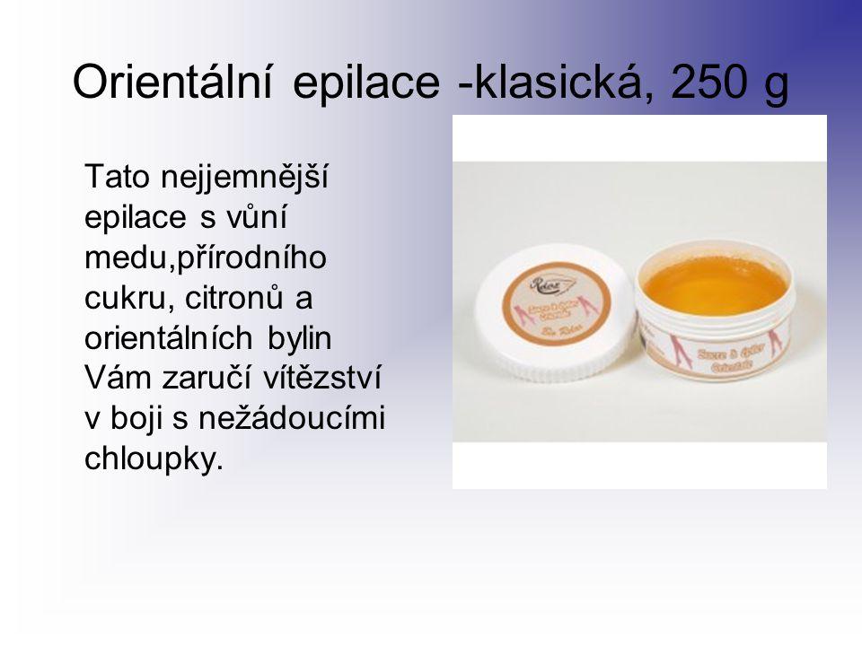 Orientální epilace -klasická, 250 g Tato nejjemnější epilace s vůní medu,přírodního cukru, citronů a orientálních bylin Vám zaručí vítězství v boji s