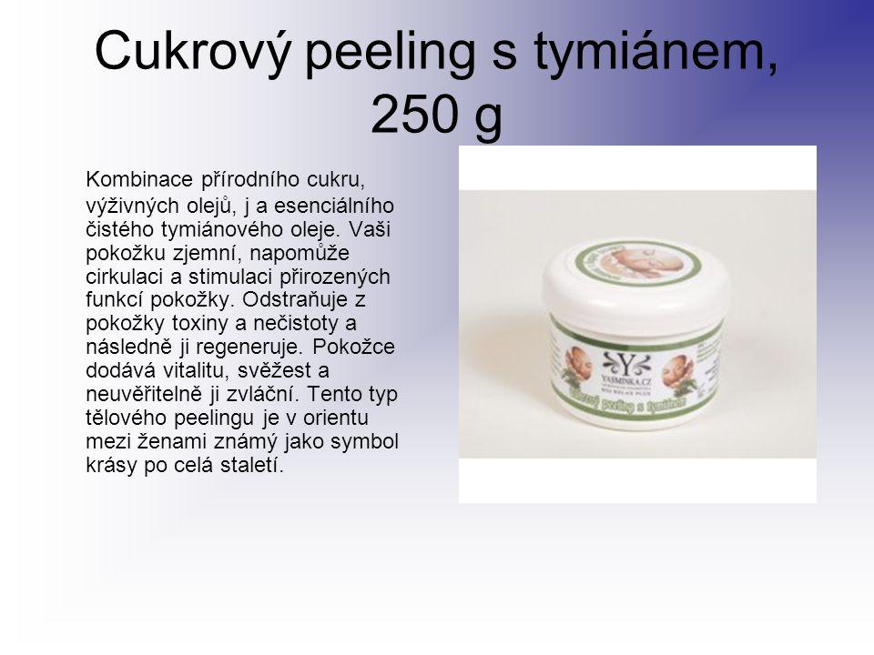 Cukrový peeling s tymiánem, 250 g Kombinace přírodního cukru, výživných olejů, j a esenciálního čistého tymiánového oleje. Vaši pokožku zjemní, napomů