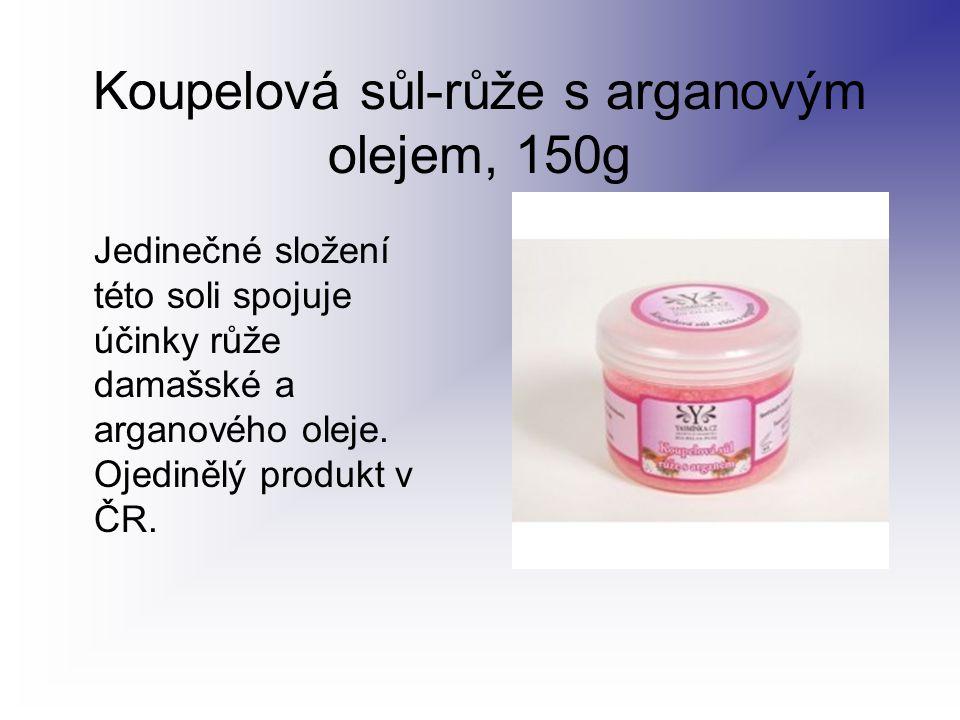 Koupelová sůl-růže s arganovým olejem, 150g Jedinečné složení této soli spojuje účinky růže damašské a arganového oleje. Ojedinělý produkt v ČR.