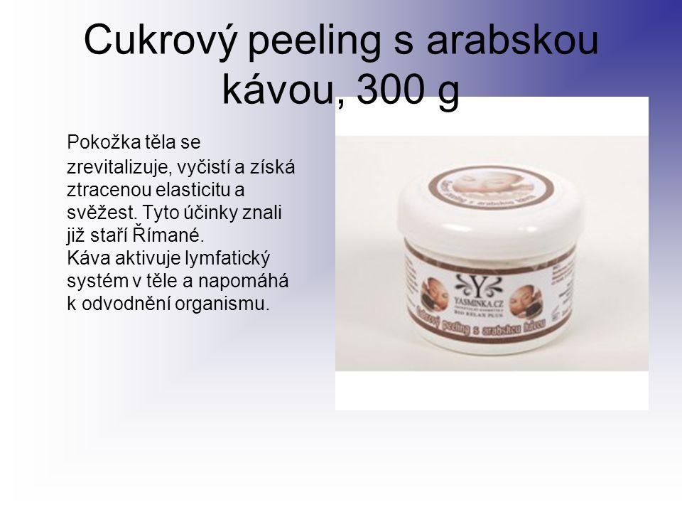 Cukrový peeling s arabskou kávou, 300 g Pokožka těla se zrevitalizuje, vyčistí a získá ztracenou elasticitu a svěžest. Tyto účinky znali již staří Řím
