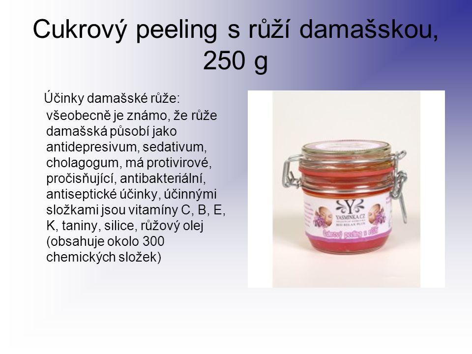 Cukrový peeling s růží damašskou, 250 g Účinky damašské růže: všeobecně je známo, že růže damašská působí jako antidepresivum, sedativum, cholagogum,
