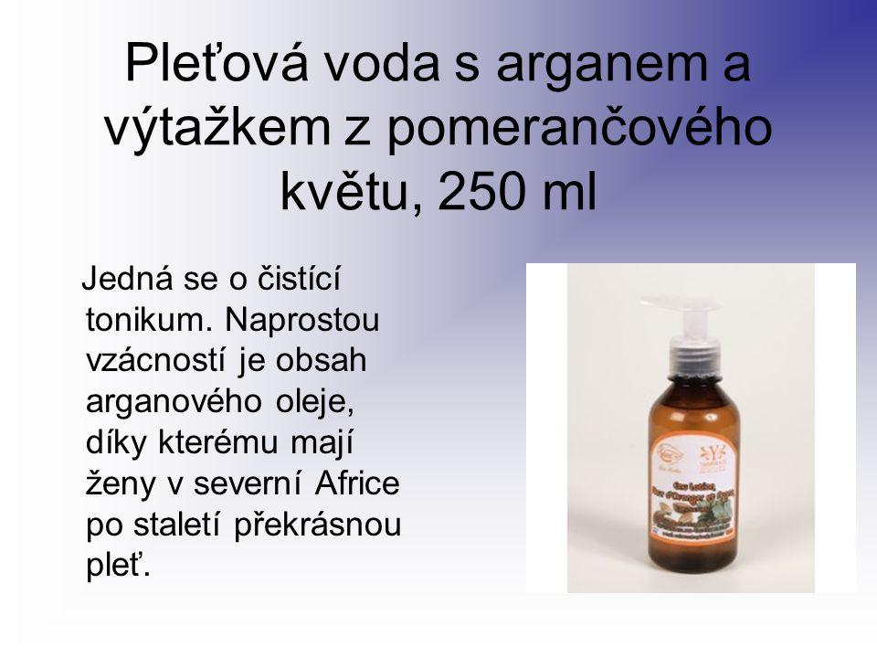 Pleťová voda s arganem a výtažkem z pomerančového květu, 250 ml Jedná se o čistící tonikum. Naprostou vzácností je obsah arganového oleje, díky kterém