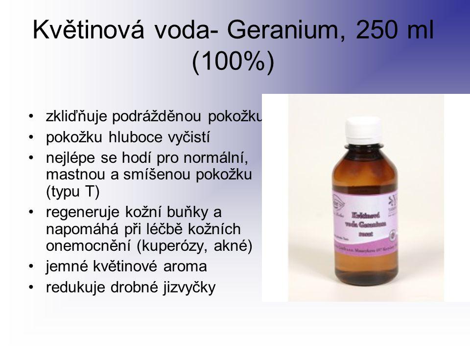 Květinová voda- Geranium, 250 ml (100%) zkliďňuje podrážděnou pokožku pokožku hluboce vyčistí nejlépe se hodí pro normální, mastnou a smíšenou pokožku