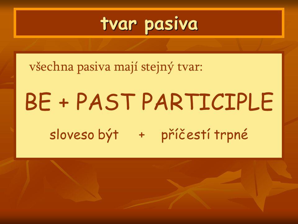 tvar pasiva všechna pasiva mají stejný tvar: BE + PAST PARTICIPLE sloveso být + příčestí trpné