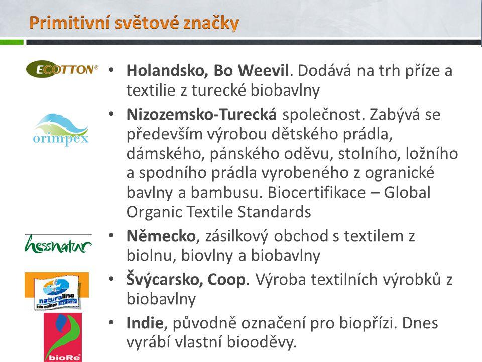 Holandsko, Bo Weevil. Dodává na trh příze a textilie z turecké biobavlny Nizozemsko-Turecká společnost. Zabývá se především výrobou dětského prádla, d