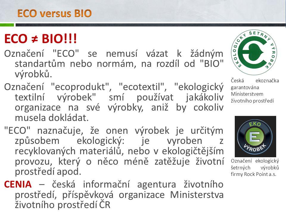 ECO ≠ BIO!!! Označení