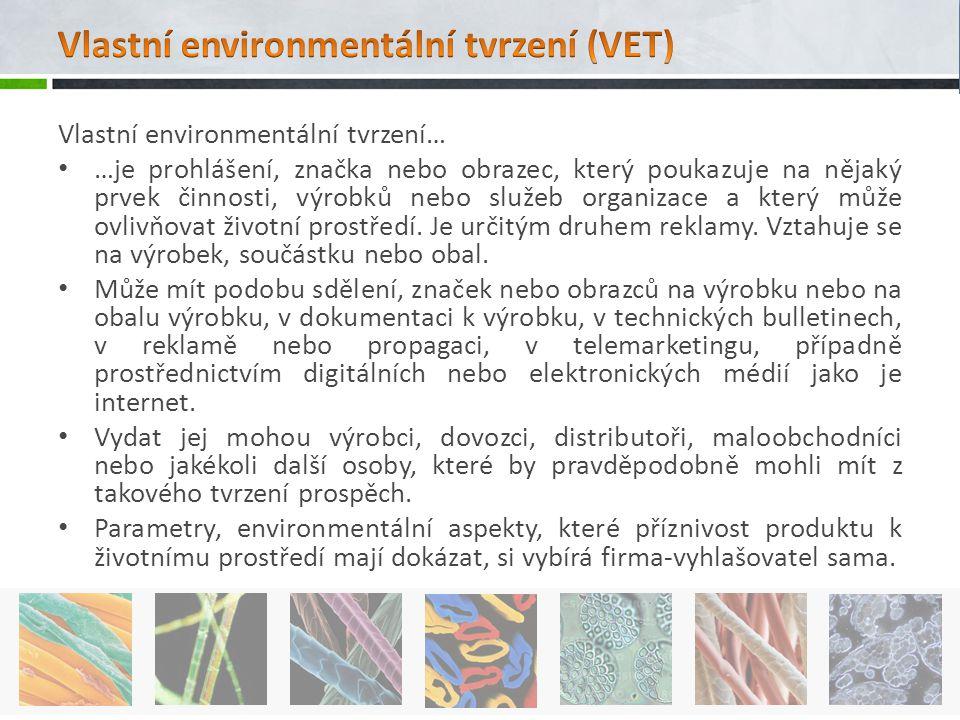 Vlastní environmentální tvrzení… …je prohlášení, značka nebo obrazec, který poukazuje na nějaký prvek činnosti, výrobků nebo služeb organizace a který
