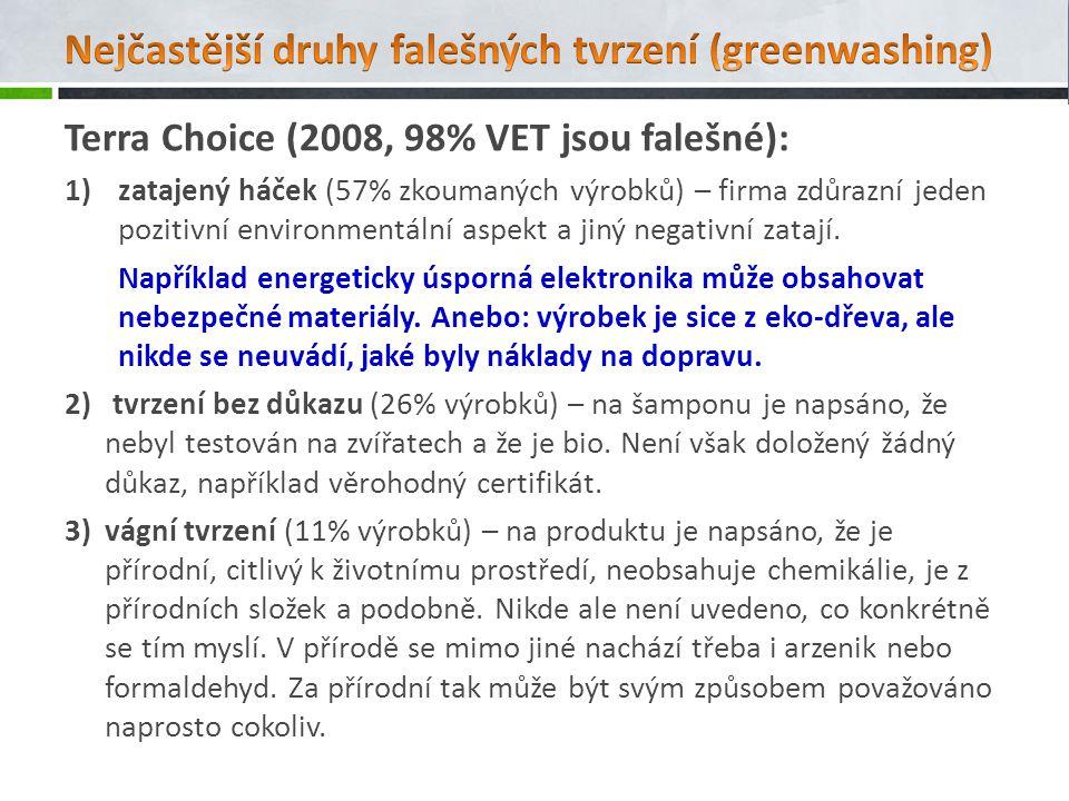 Terra Choice (2008, 98% VET jsou falešné): 1)zatajený háček (57% zkoumaných výrobků) – firma zdůrazní jeden pozitivní environmentální aspekt a jiný ne