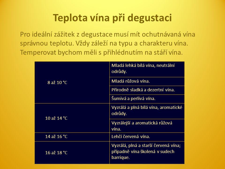 Pro ideální zážitek z degustace musí mít ochutnávaná vína správnou teplotu. Vždy záleží na typu a charakteru vína. Temperovat bychom měli s přihlédnut