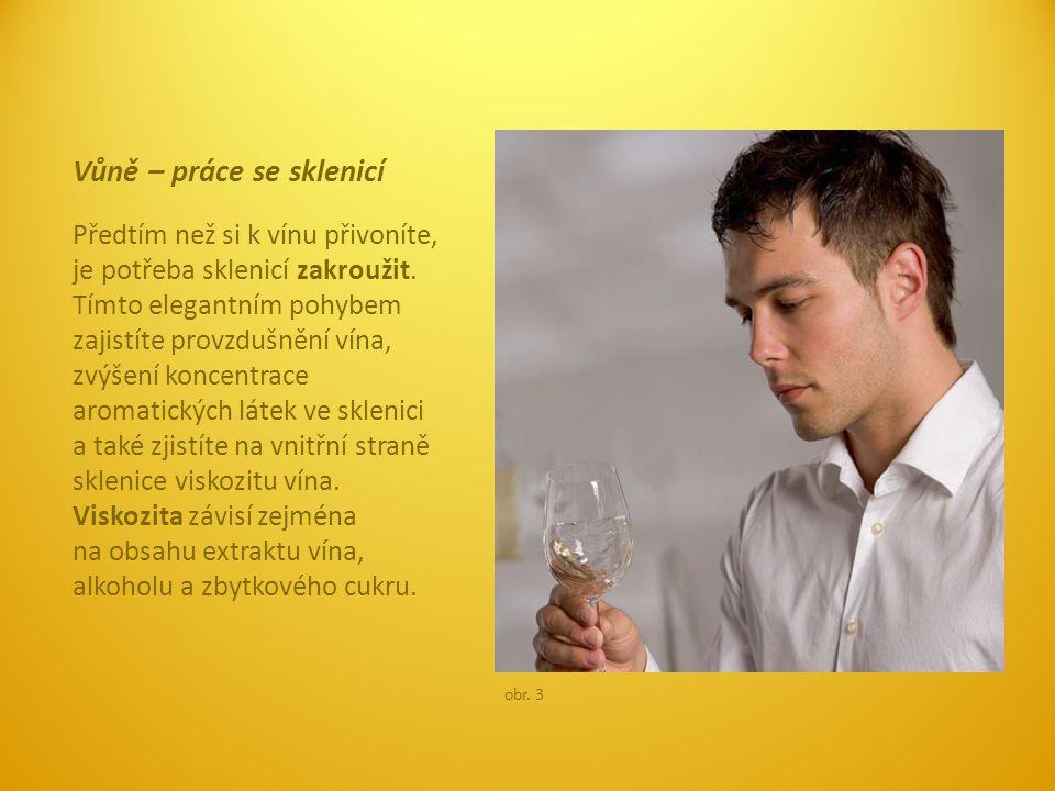 Vůně – práce se sklenicí Předtím než si k vínu přivoníte, je potřeba sklenicí zakroužit. Tímto elegantním pohybem zajistíte provzdušnění vína, zvýšení